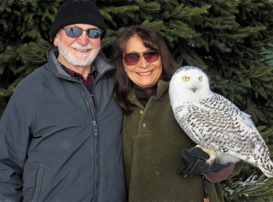 Marge and Don Gibson with a Snowy Owl