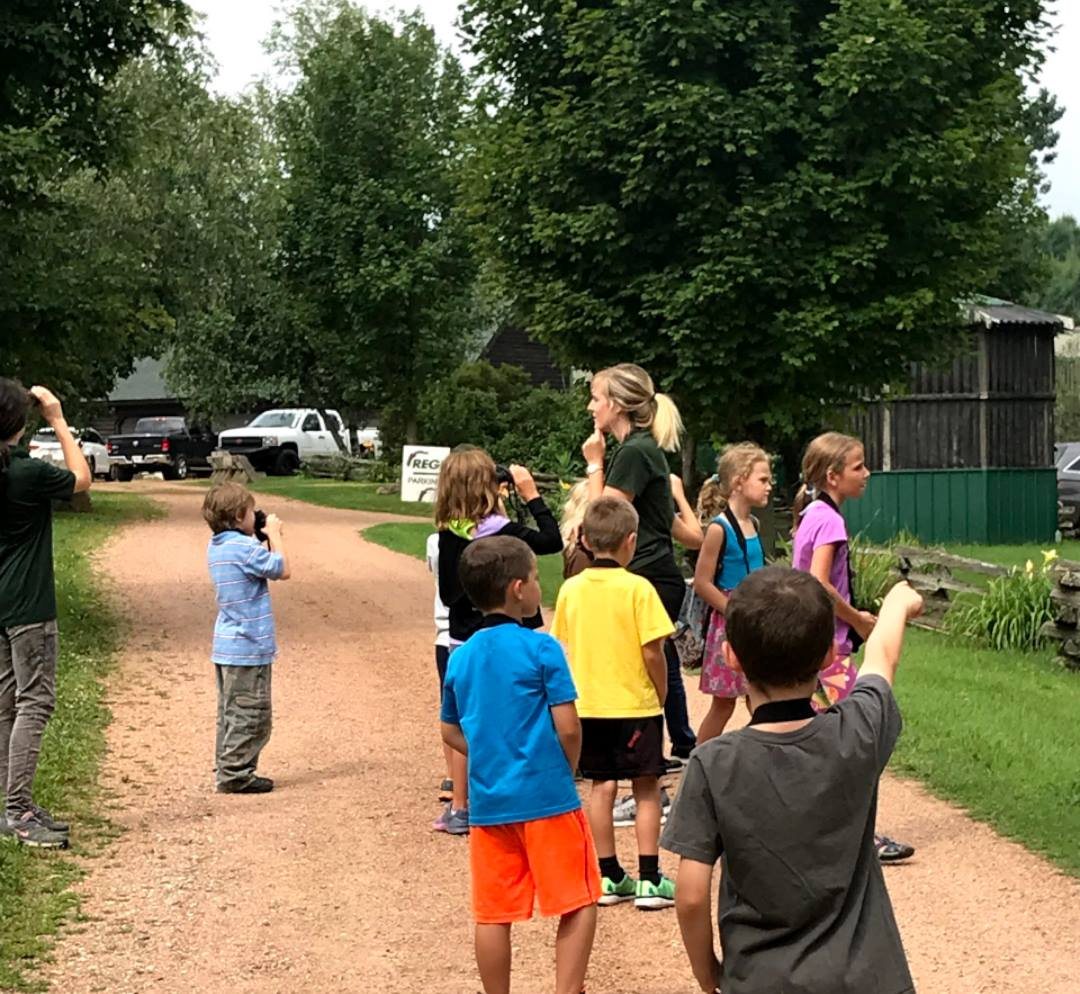 Campers tested their binocular skills during Birding 101. Some got to hold a binocular for the first time!