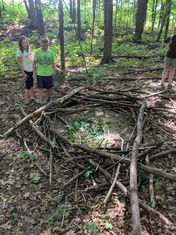 Did you know that the largest bald eagle nest was 9.5 feet in diameter, 20 feet deep and weighed almost 3 tons?  Campers worked together to build an eagle nest.