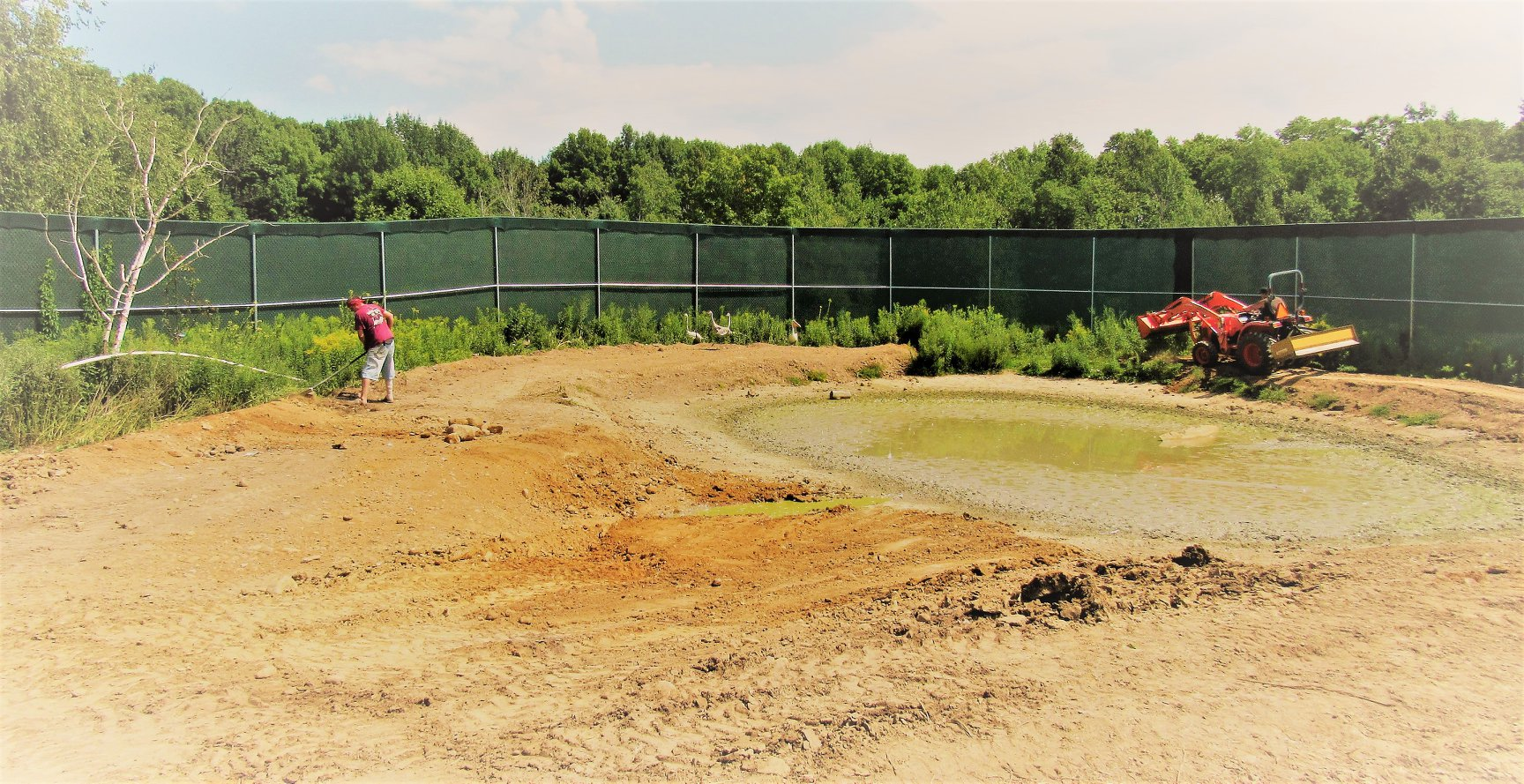 With most of the former pond drained, the remodeling begins.