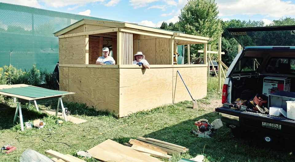 Our volunteer carpenters are our heros!! Jed Krieger and Greg Toon. We sure can use some more help to finish this construction. All the materials are here we just need folks to help. Call and let us know if you can help. 715-623-4015