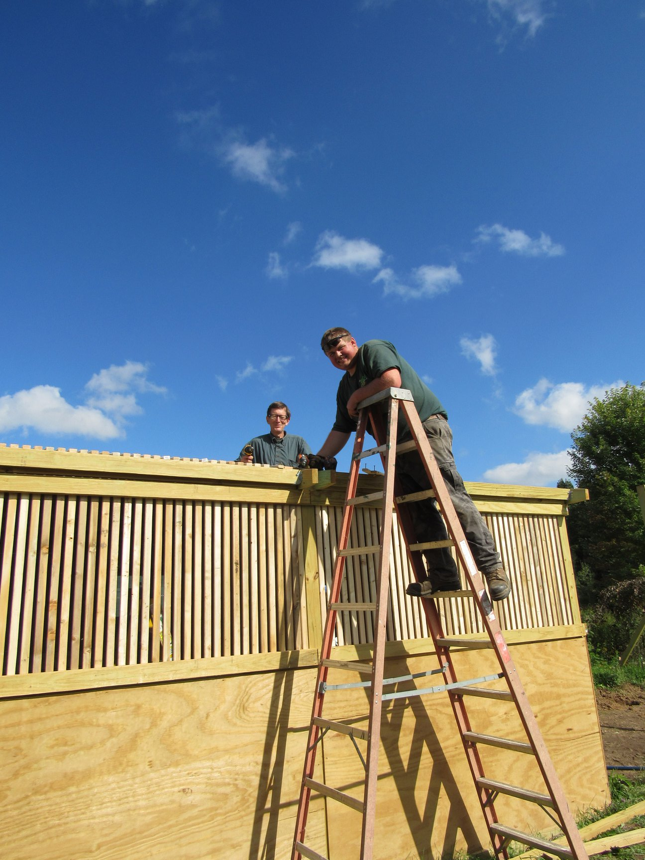 Hunter Petroskey  and Bill Trachte going in for the finish on the roof!