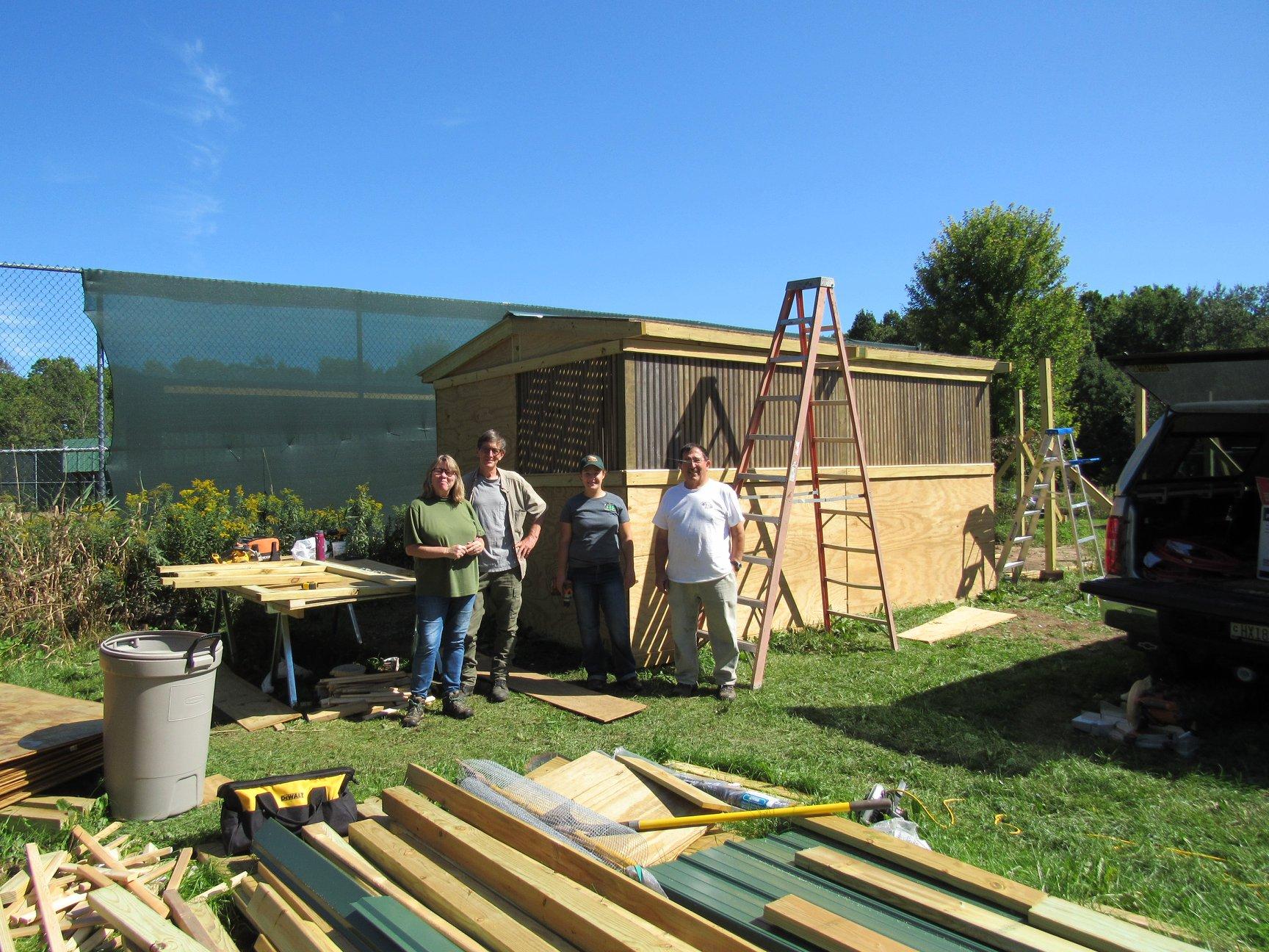 The work crew! Jill Trachte , Bill William F Trachte Jr , Greg Toon , Katie Cyr hard at work!