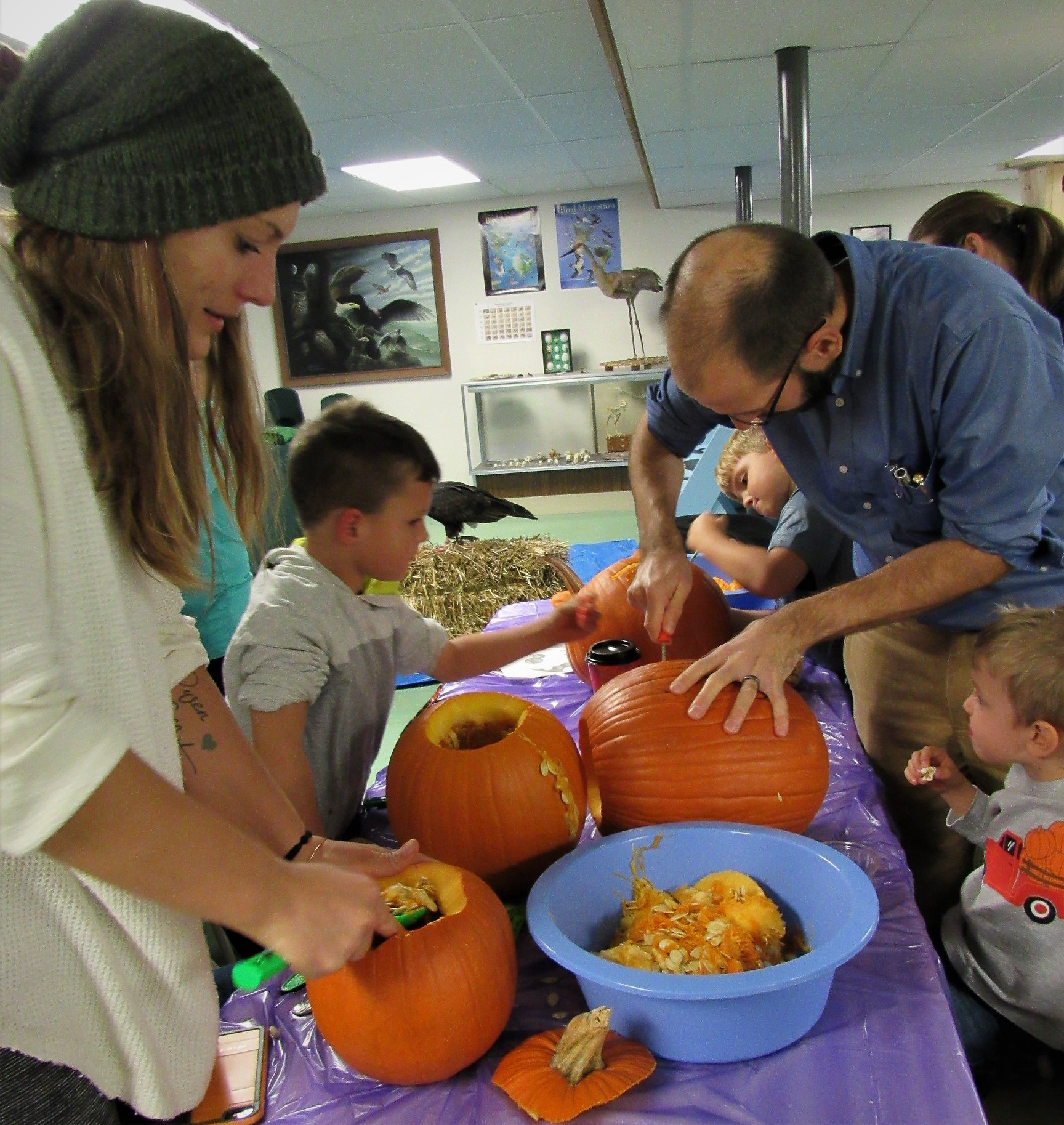 Parents also had fun getting into the pumpkin innermost parts.