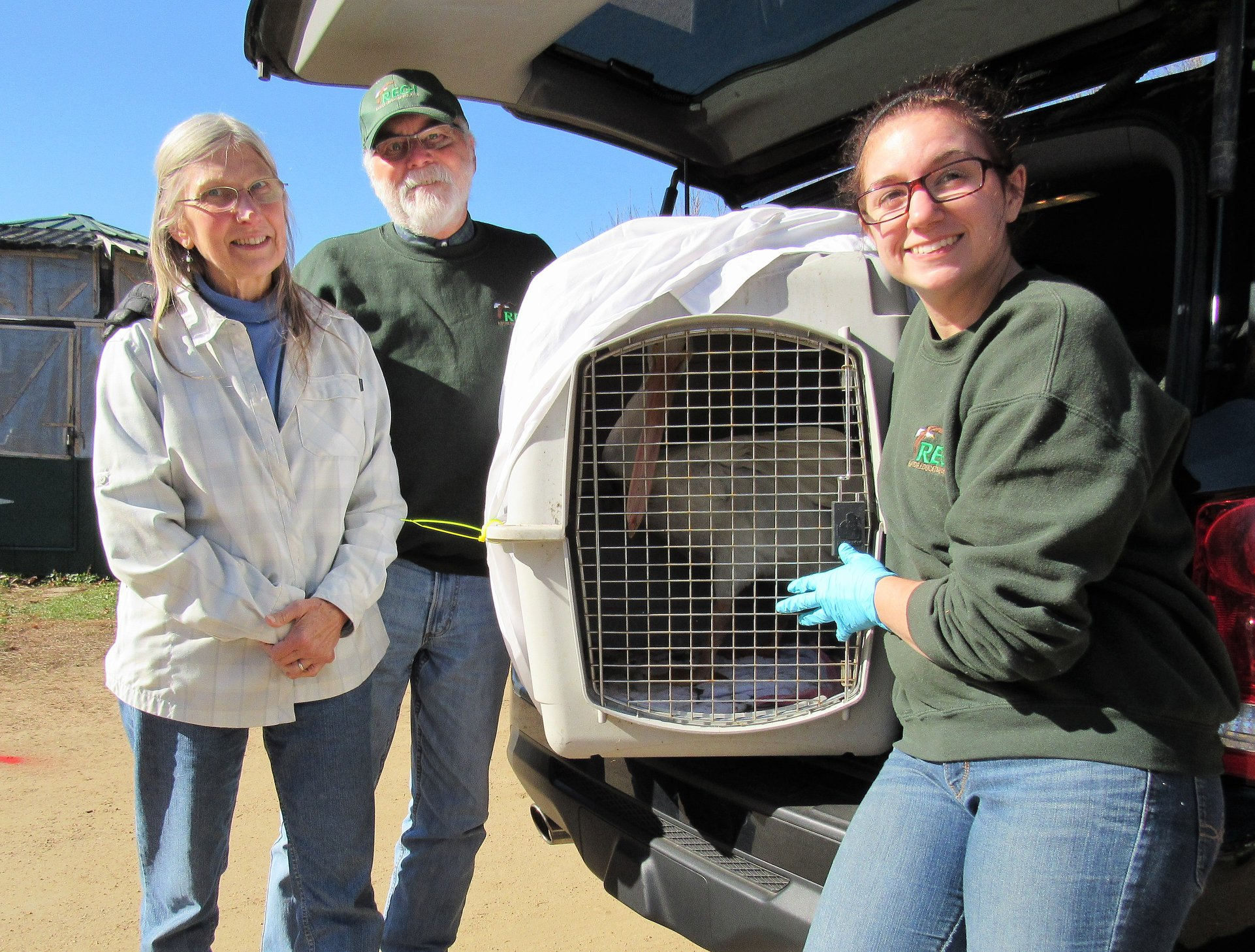 Steve Fisher and Evie Fisher transported a White Pelican TWICE! Once to REGI for care and when he was found to be non releasable, he was transported to Bramble Park Zoo in Watertown, S.D. to meet his new love. Thank you Steve and Evie for your long distance transports.