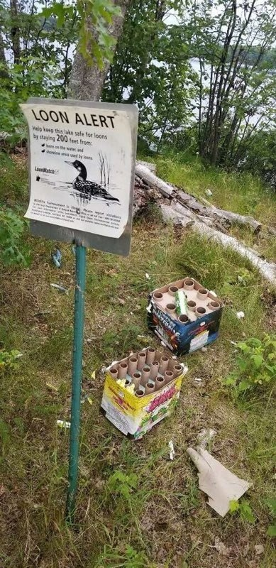 A very obvious notice for the loon nest which was ignored and used as a fireworks launch pad!!! Disgusting disgraceful, disturbing lack of respect for living things as well as well as the law.