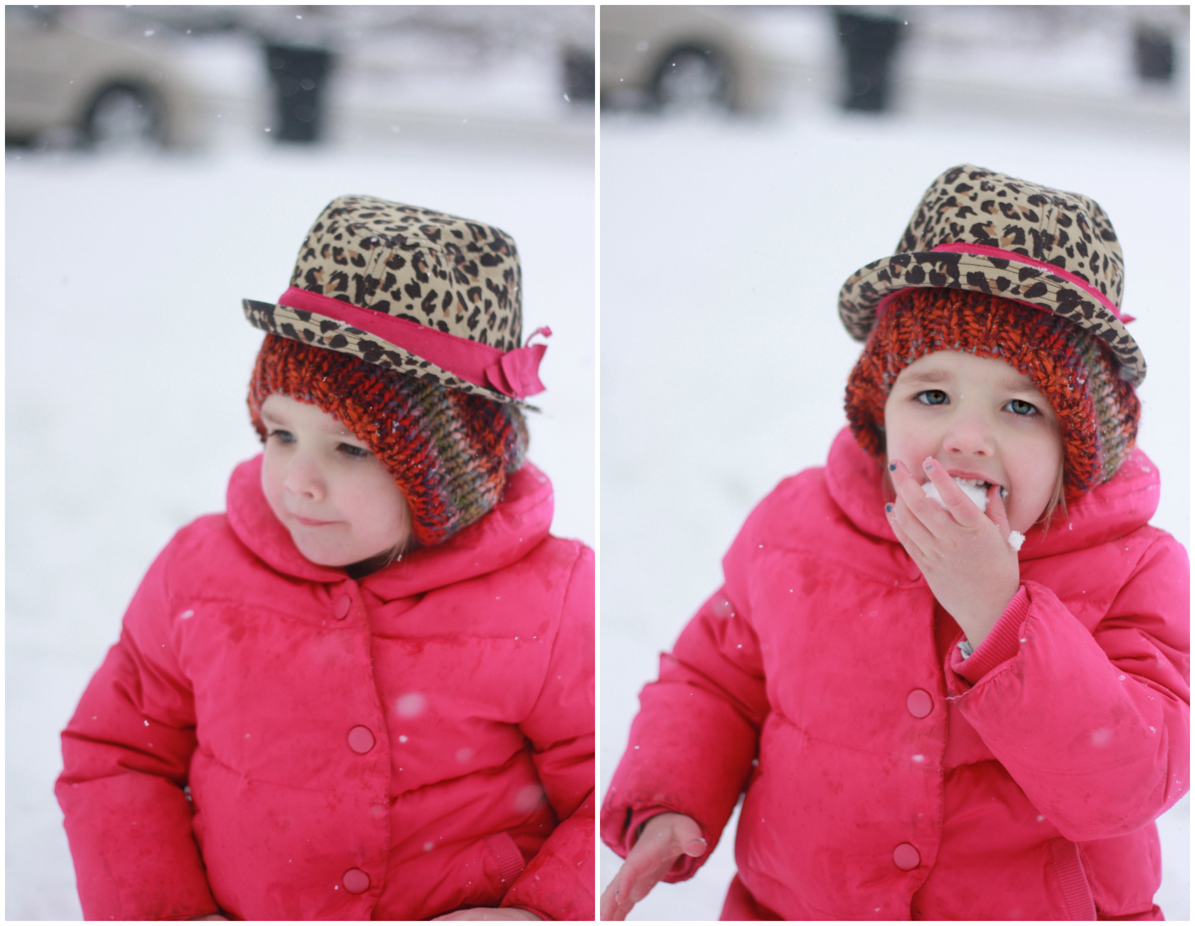 For some reason, Georgia went inside, found this too-small-for-her leopard hat and proudly proclaimed that she had TWO hats.