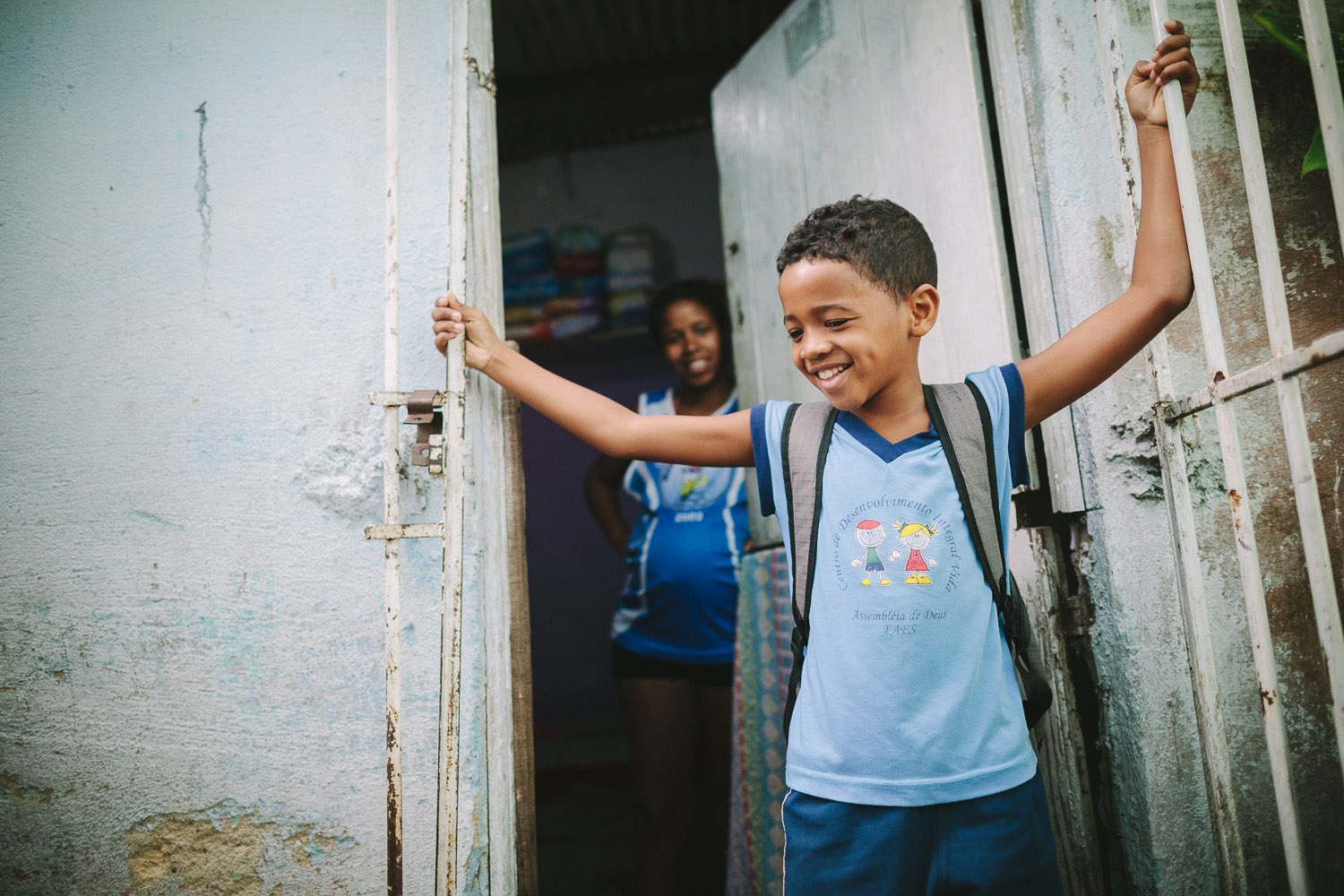 Getting ready to head to classes at the Compassion Center. Emidio's entire house (housing 4 people---soon to be 5) is perhaps no larger than 8 feet by 10 feet. This is Emidio's morning routine before heading to classes at the Compassion Center.