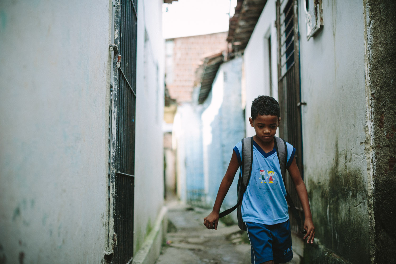 Emidio walking to his classes at the Compassion Center.