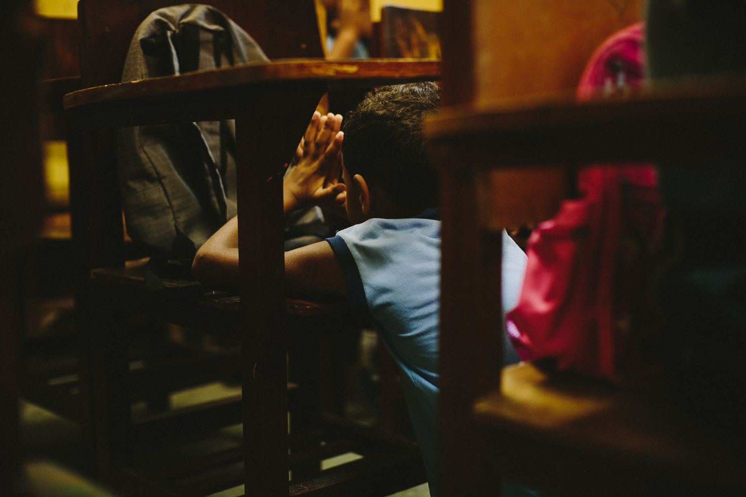 Prayer time is a daily part of class at the Compassion Center. Emidio during classes at the Compassion Center.