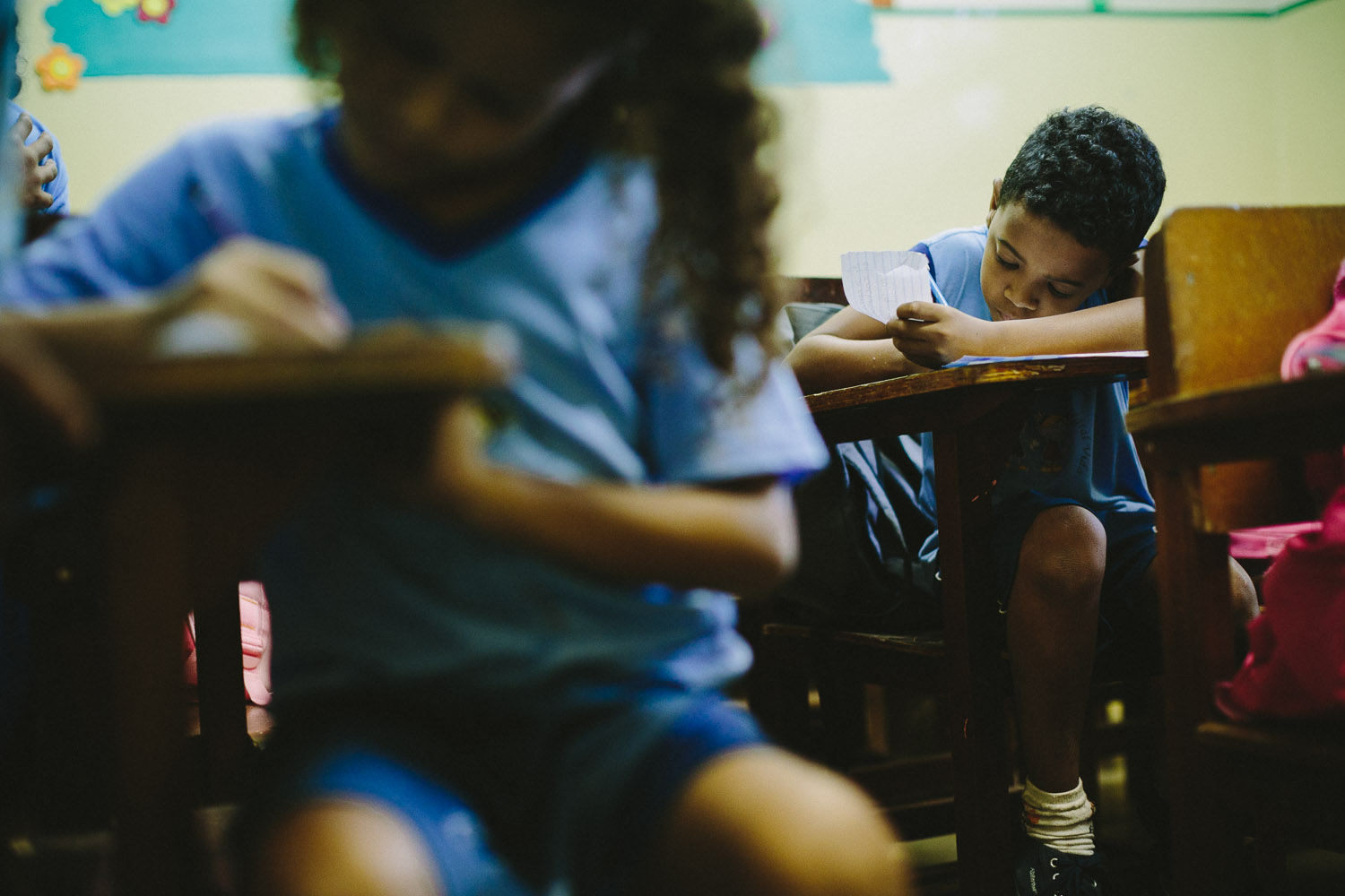 Emidio enjoys learning and is focused and generally a good student. Emidio during classes at the Compassion Center.