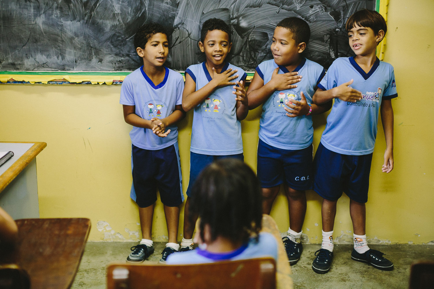 Singing is a part of the classroom activity at the Compassion Center. Emidio during classes at the Compassion Center.