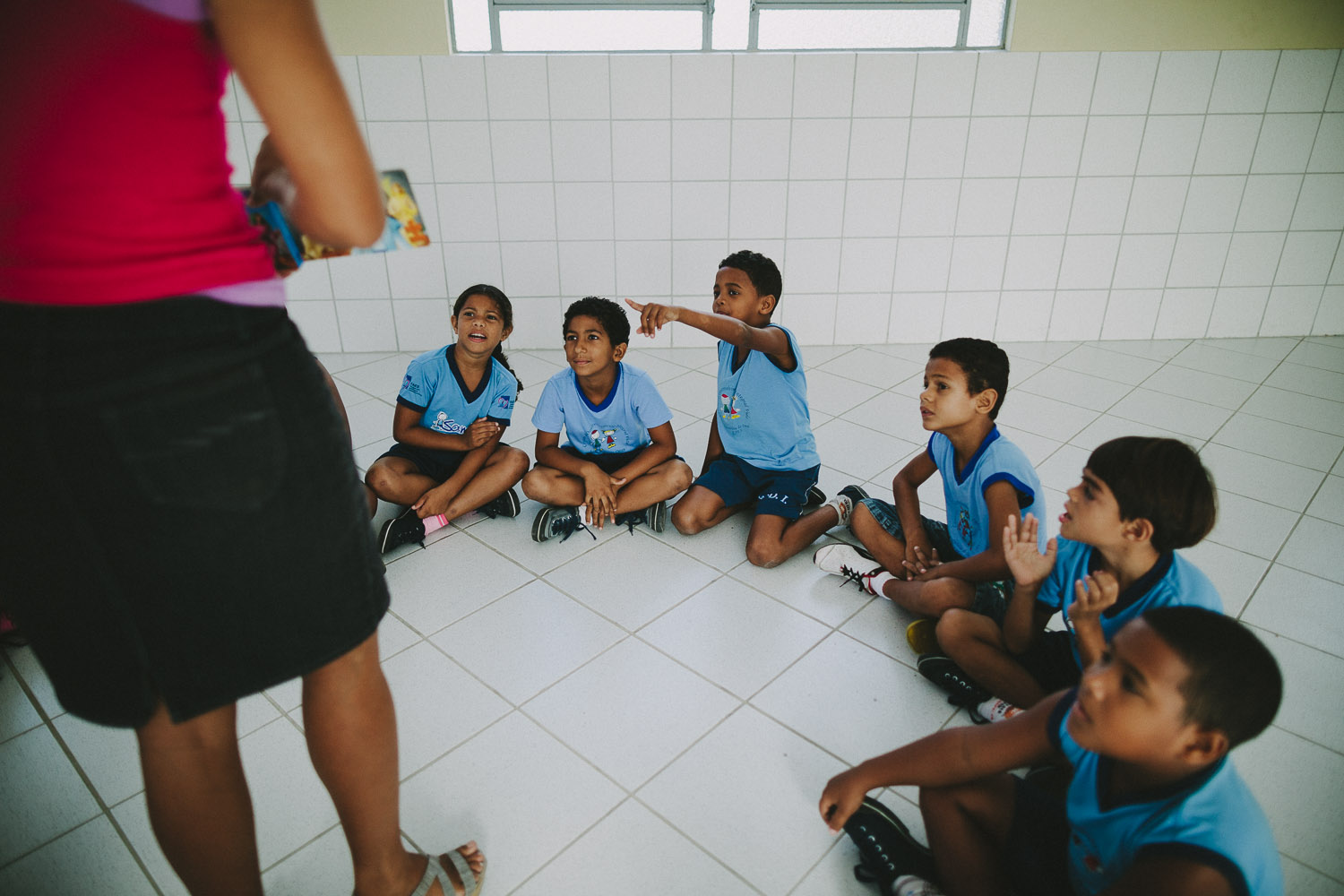 Story time. Emidio during classes at the Compassion Center.