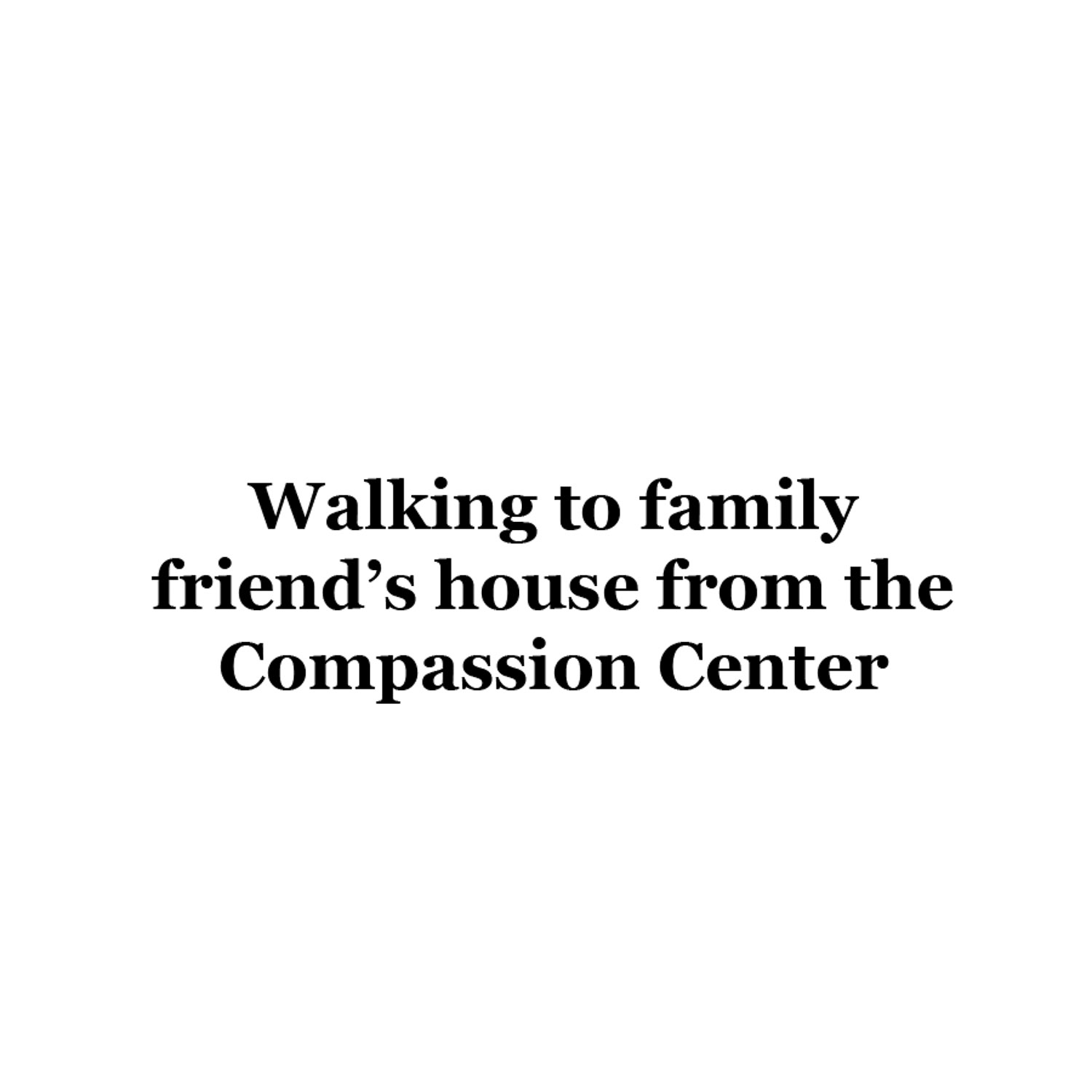 """After his time at the Compassion Center, Emidio walks to his """"aunt's"""" house (family friend---no relation) to be taken care of before heading to school since his mother works until 10pm each night."""