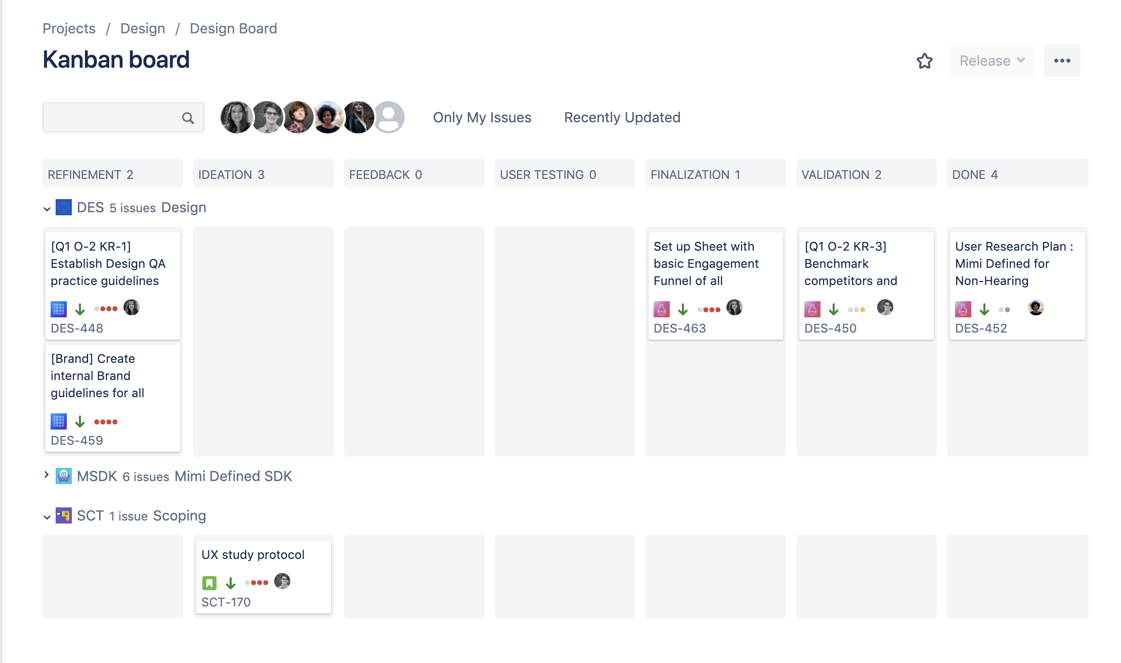 Overview of multiple team's progress in one JIRA board.
