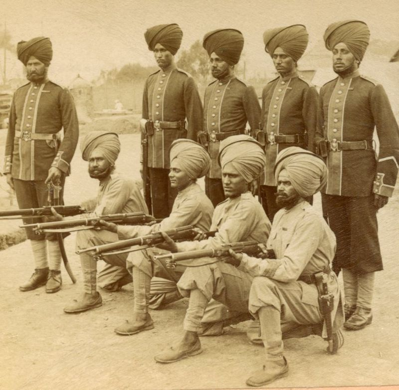 Jemadar Bhagwan Singh with men, 1900