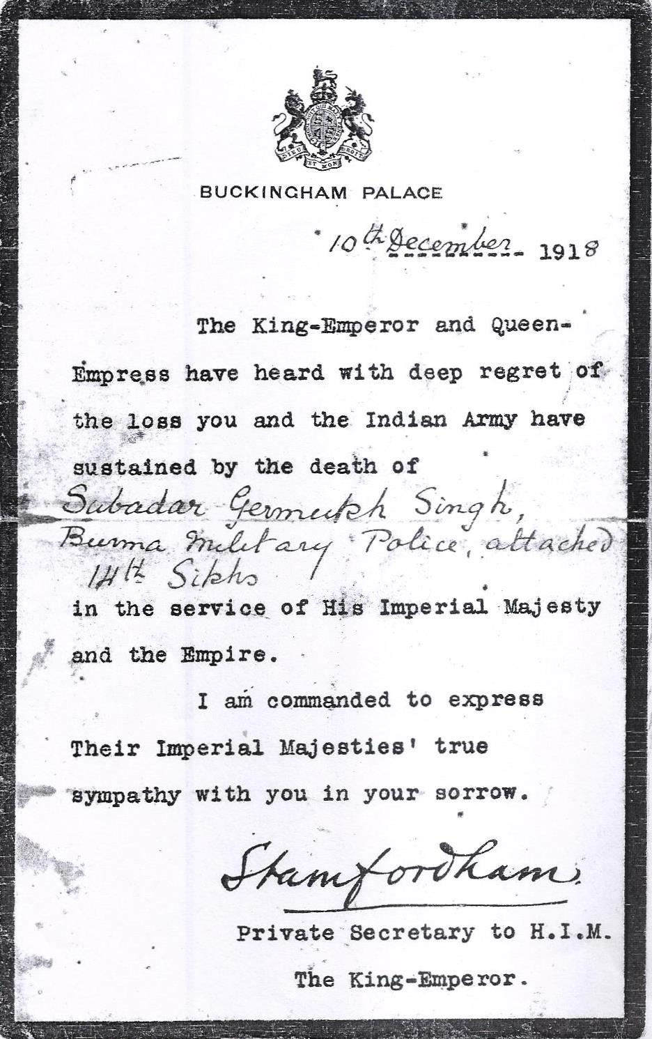 Letter about Gurmukh Singh's death, 10 December 1918