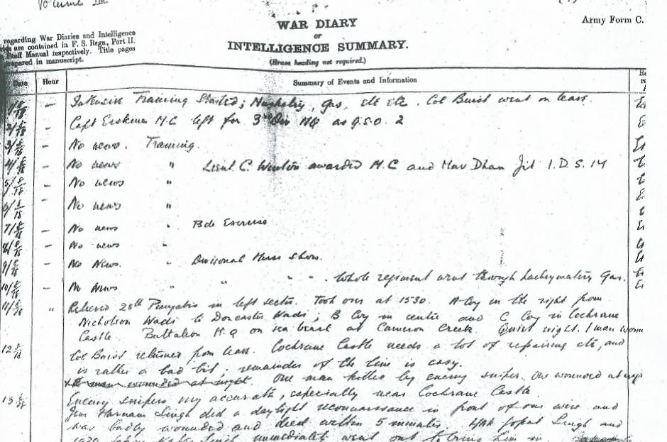 War diary entry (1/2)