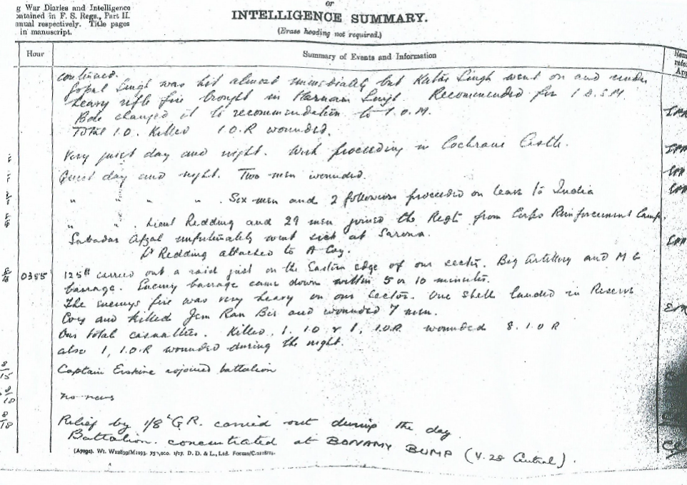 War diary entry (2/2)