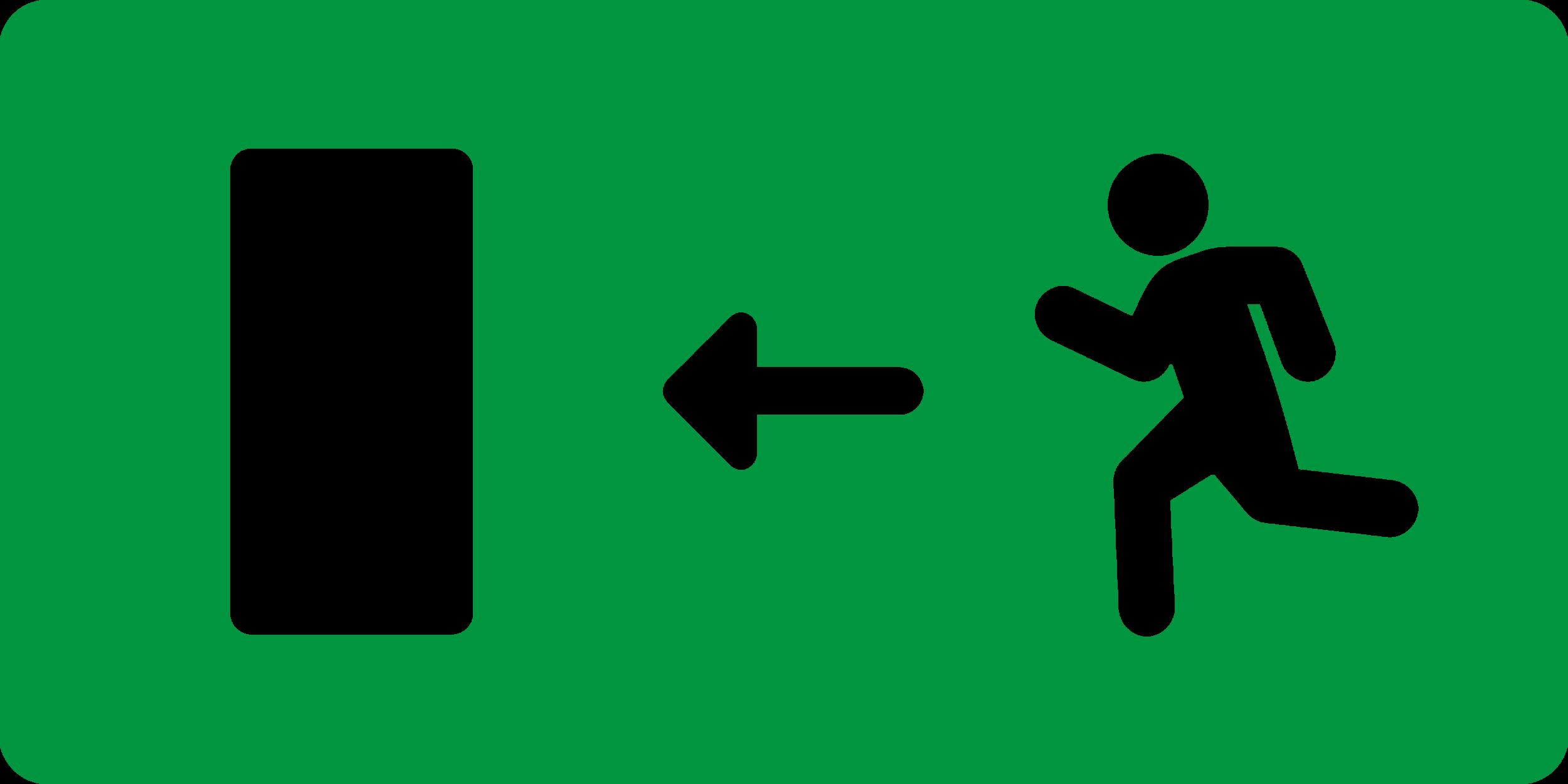 NL. Nooduitgang weg links