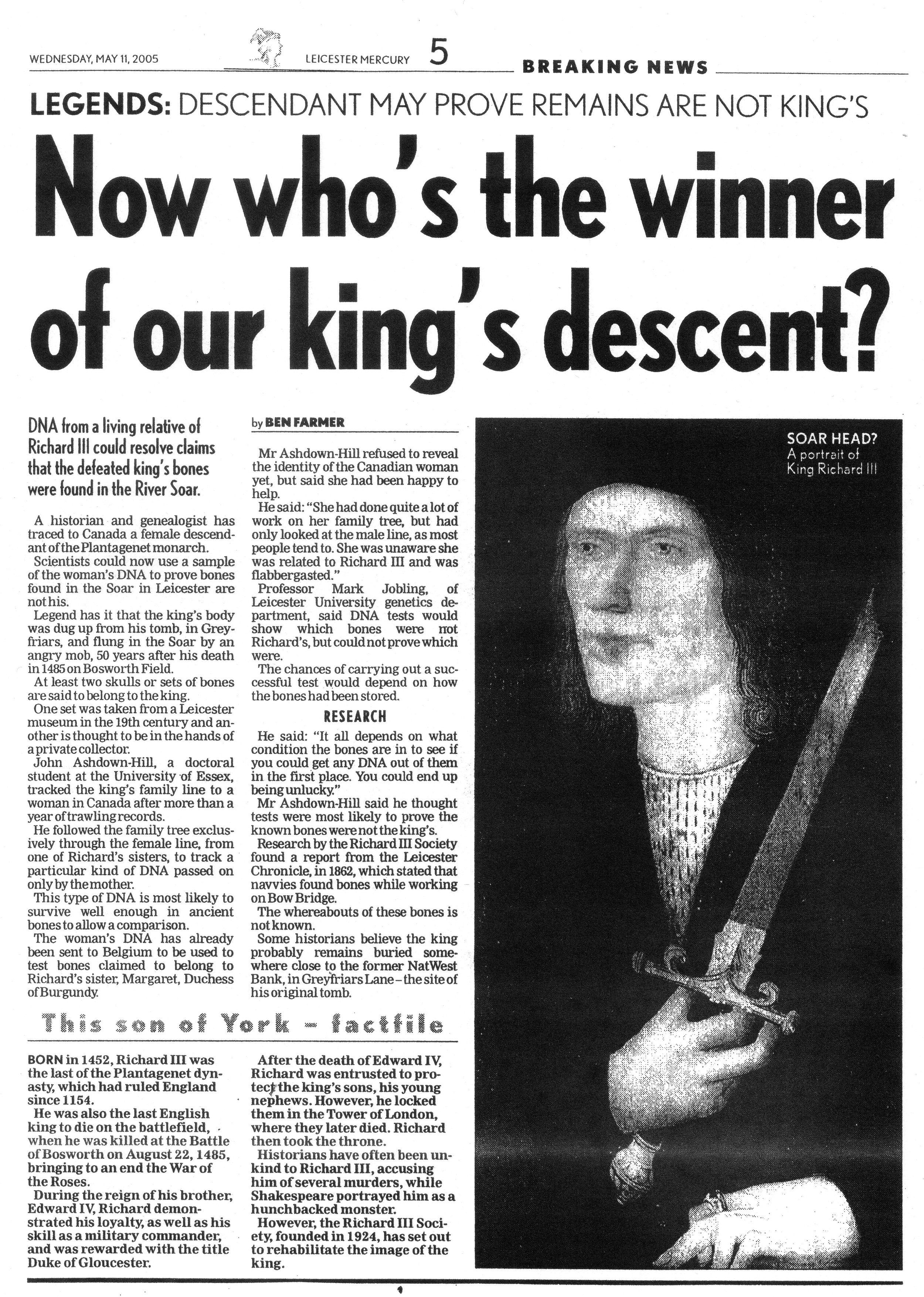 Leicester Mercury, 11 May 2005.jpg
