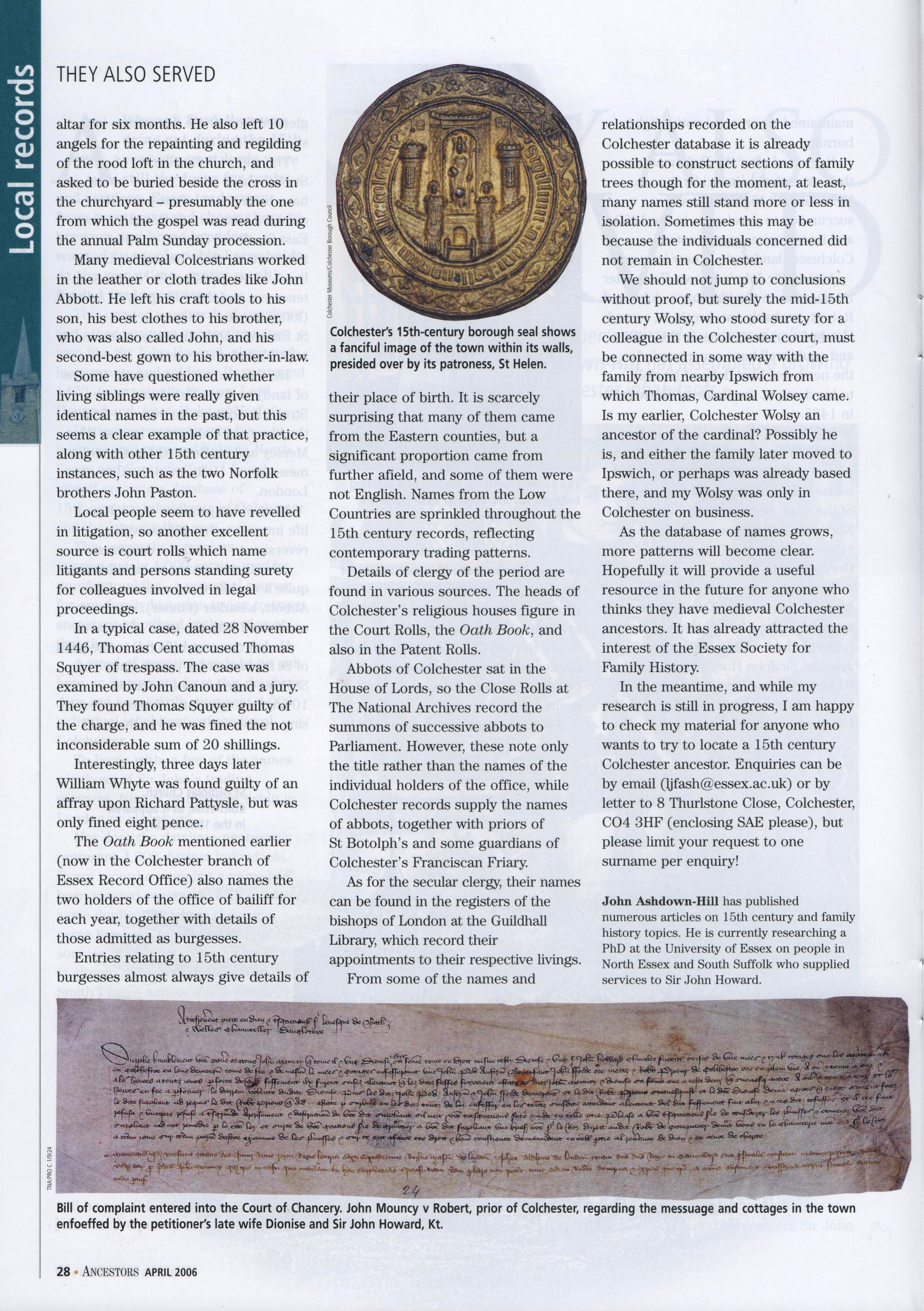 Ancestors magazine April 2006, p. 28.jpg