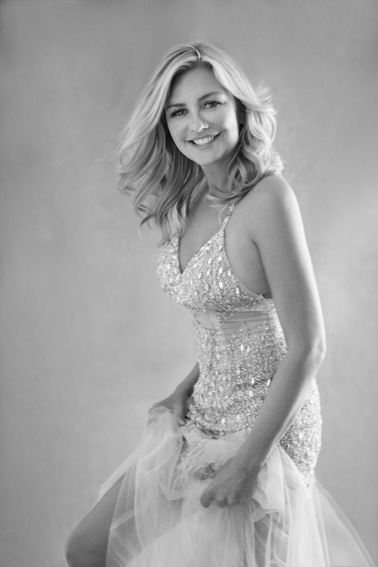 dancing smile portrait by Sue Bryce long dress BW