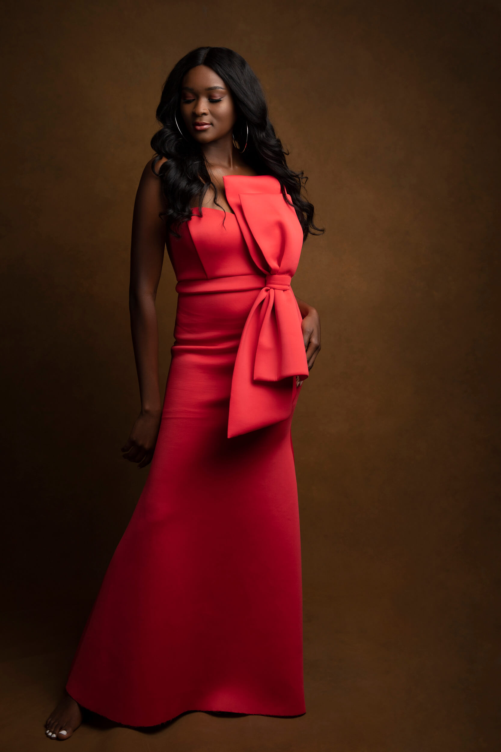 Glamour-Red-dress-Studio-Photography