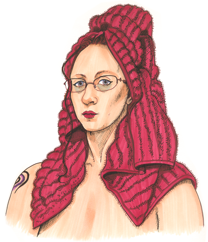 Self-Portrait (after shower, with a red towel on my head). Marker & pen. April 13, 2019