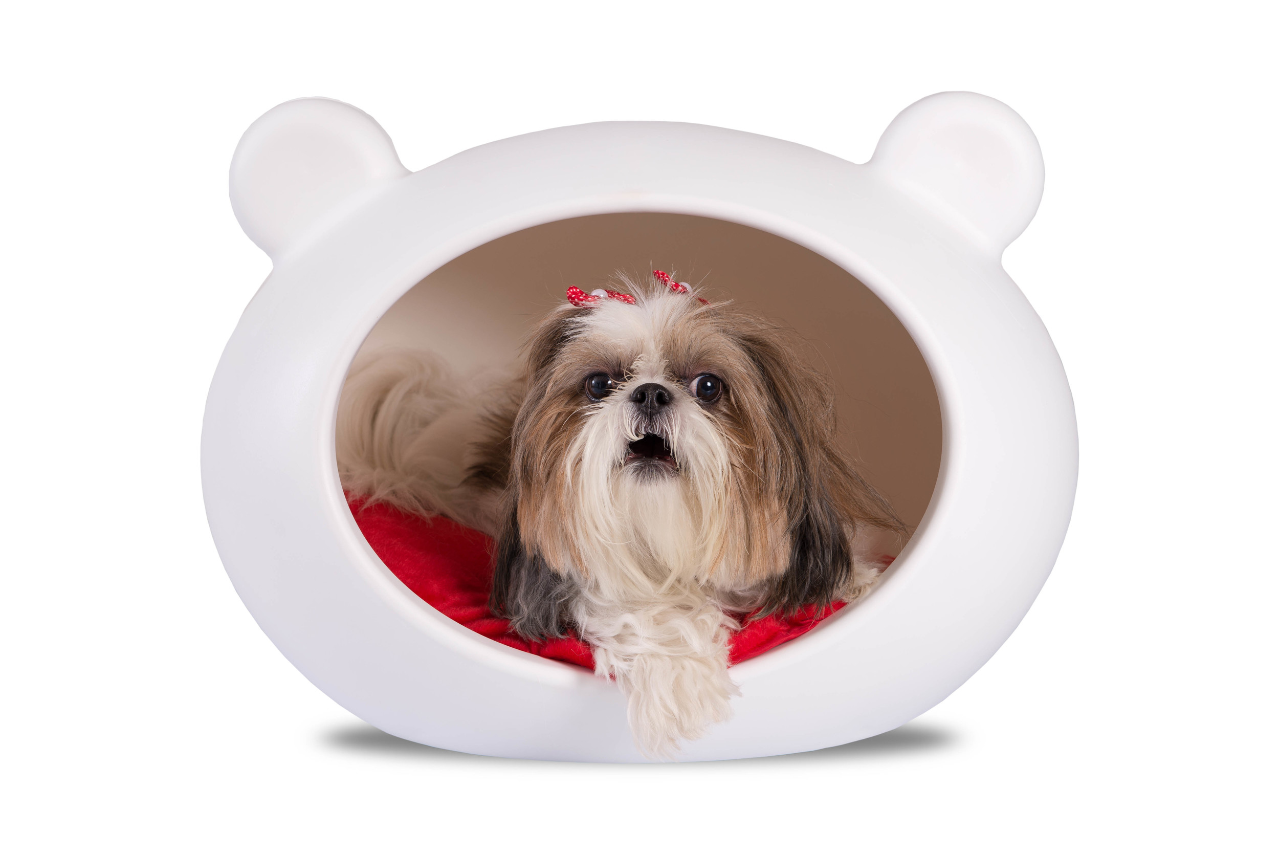 DCB-RED Small White Dog Cave with Red Cushion.jpg