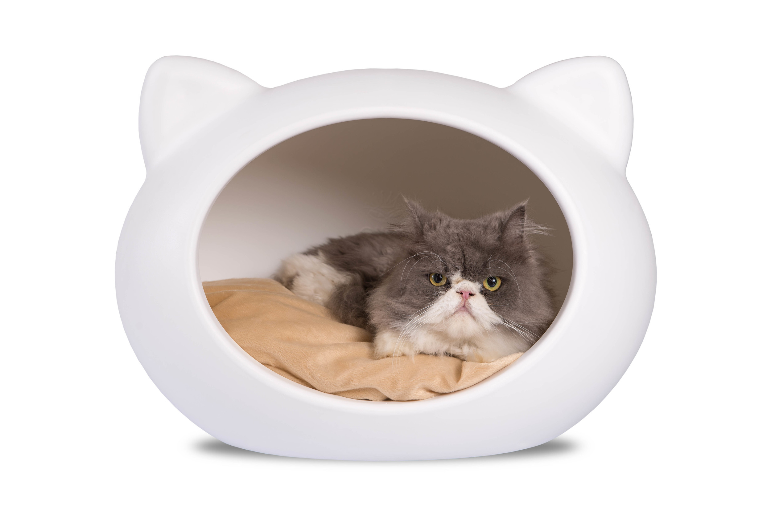CCB-NAT -White Cat Cave with Beige Cushion.jpg