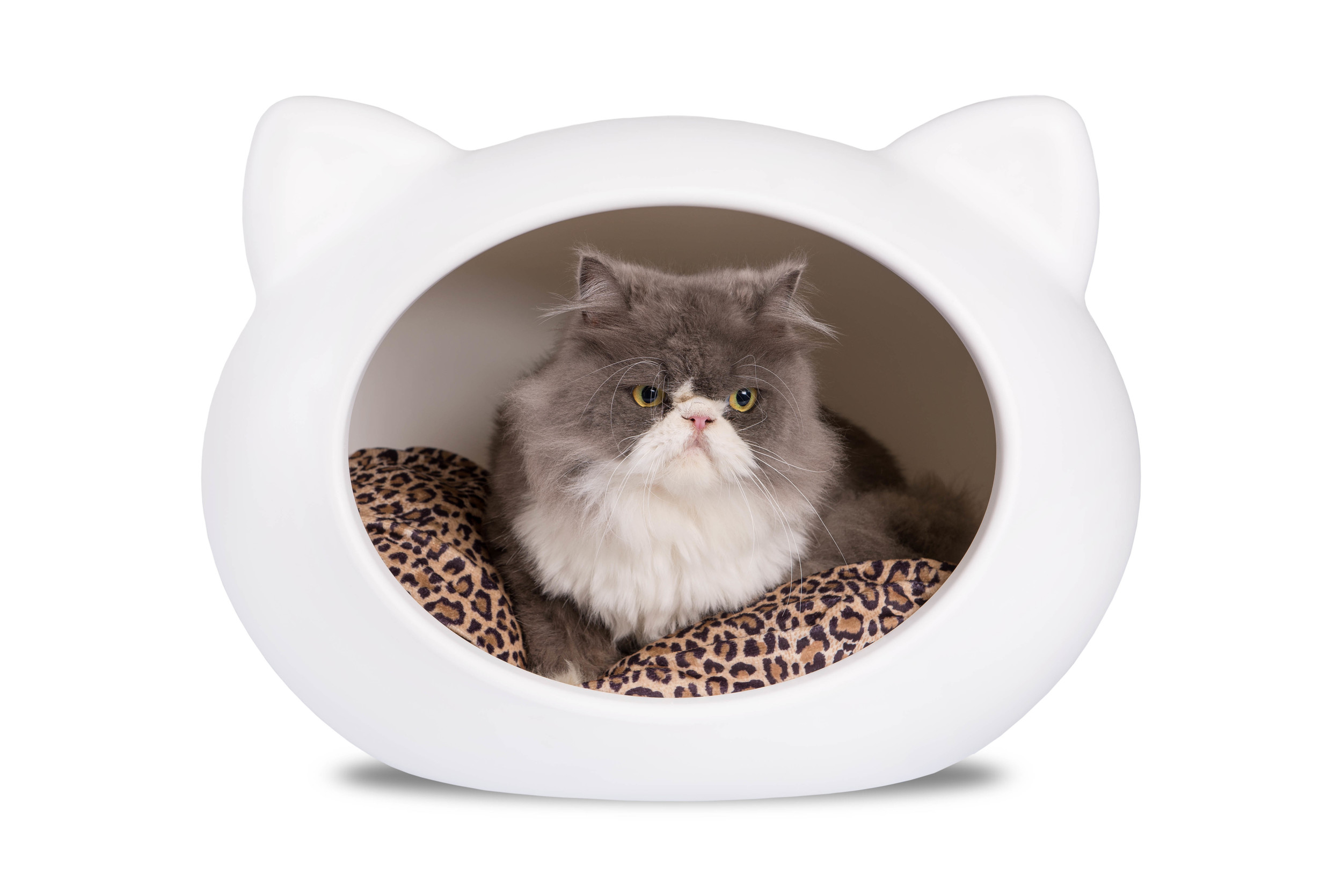 CCB-APt White Cat Cave with Animal Print Cushion.jpg