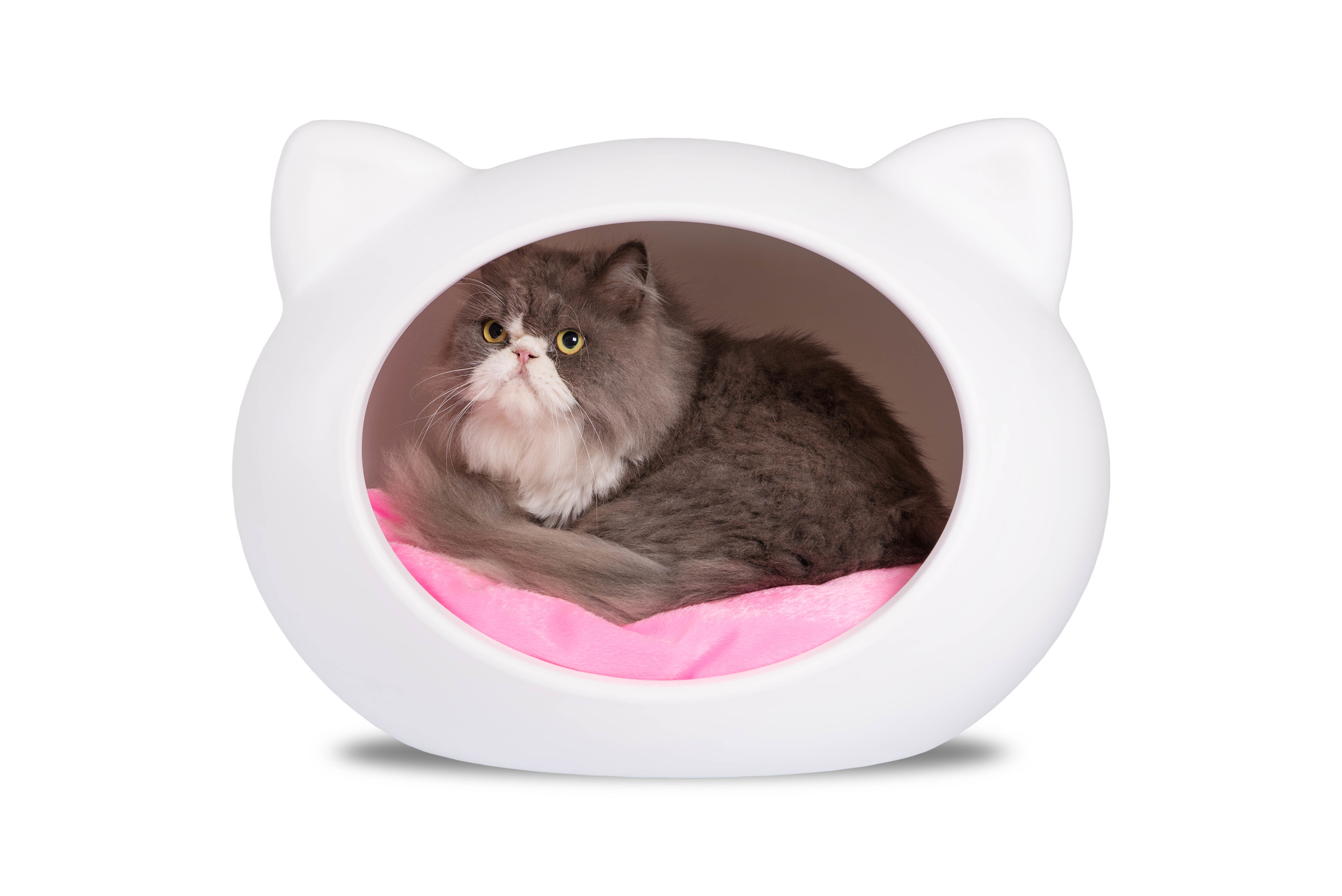 CCB-PINK White Cat Cave with Pink Cushion.jpg