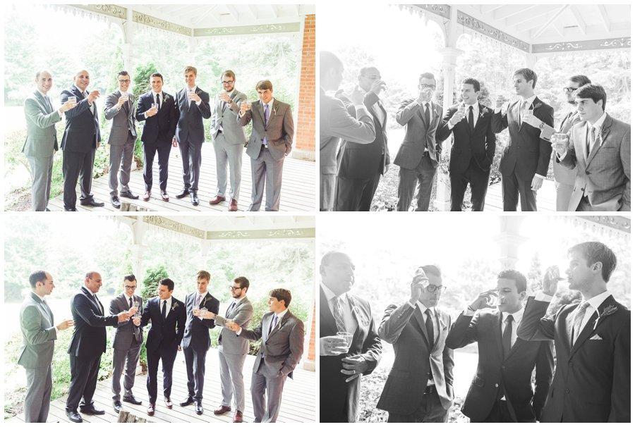 groomsmen drinking before ceremony