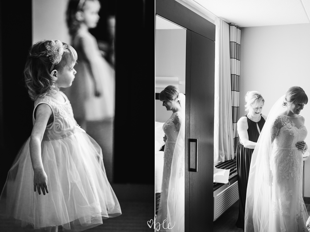 Flower girl watching the bride get ready
