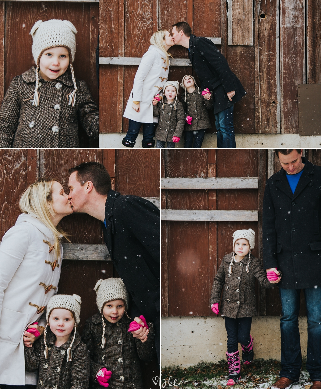 family in front of the barn, mom and dad kissing, family in winter