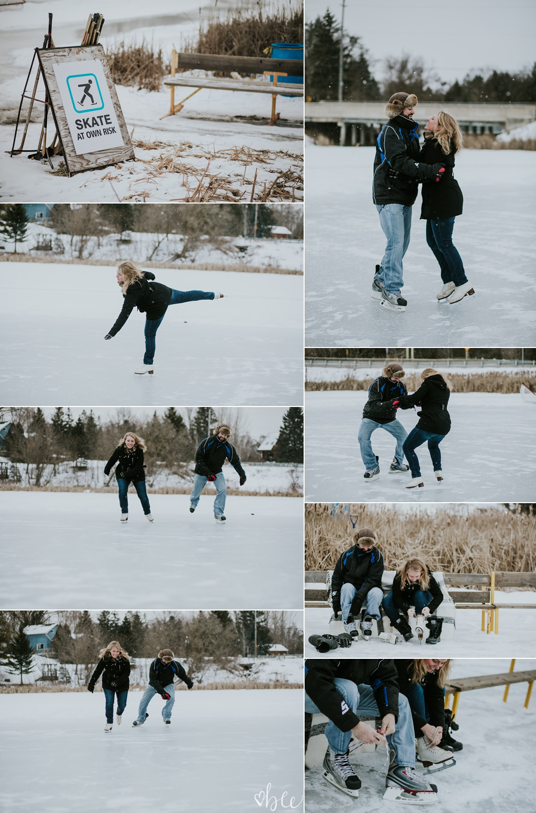 engaged couple skating on Palgrave Pond in Caledon