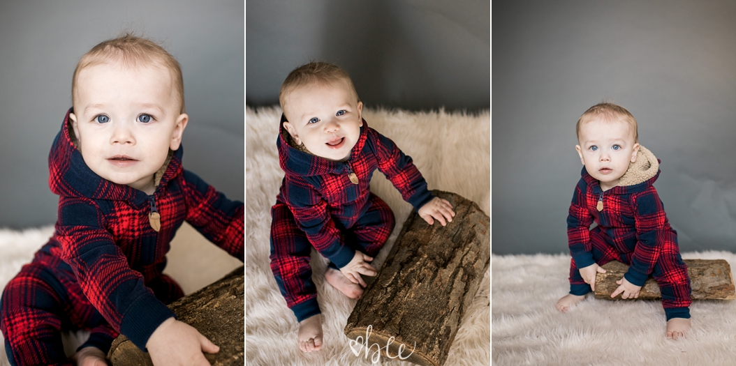 baby boy in a lumberjack outfit
