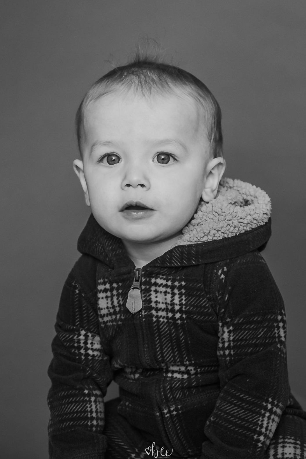 black and white portrait of a little boy
