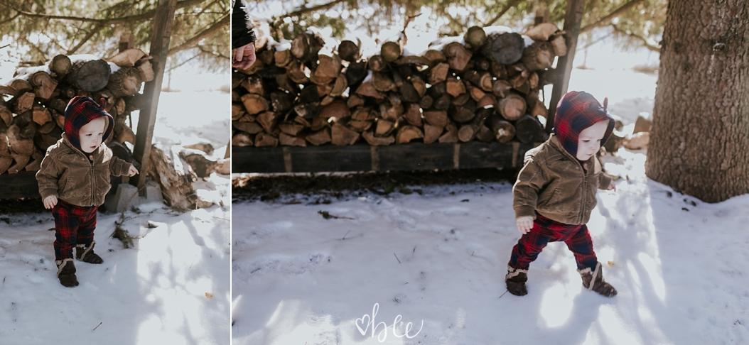 baby boy outside in snow