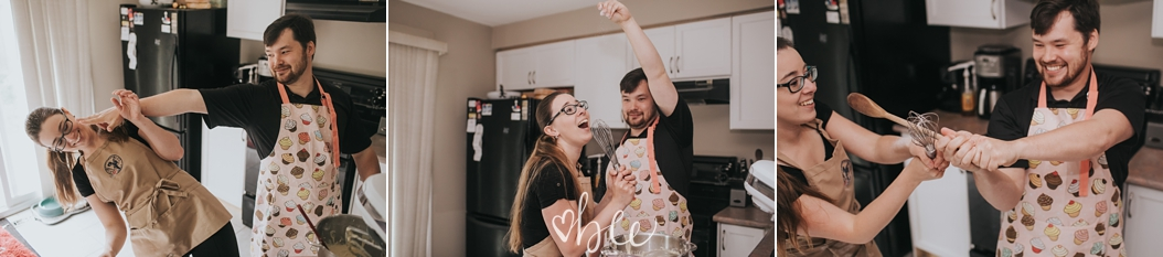 a couple has a flour fight in the kitchen