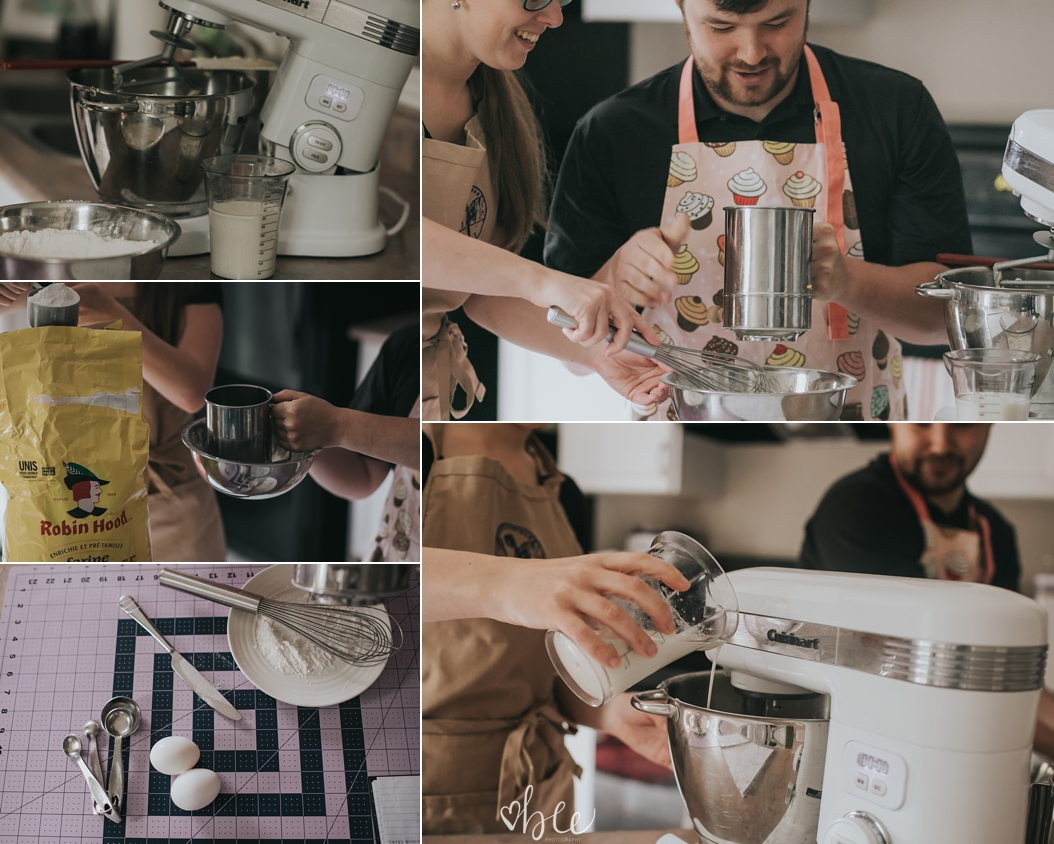 a couple is preparing to bake a cake together