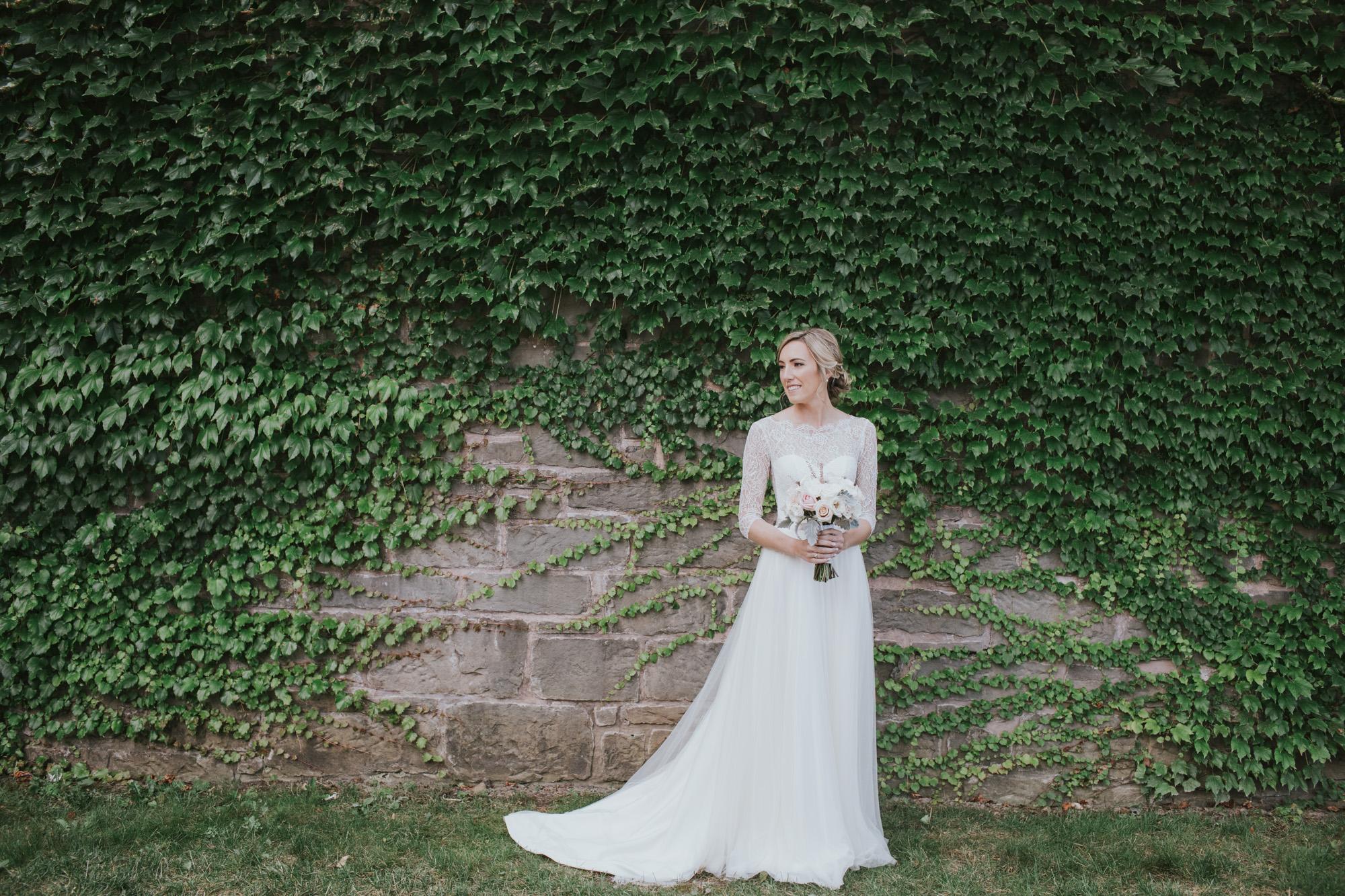 Ivy wall bridal portrait