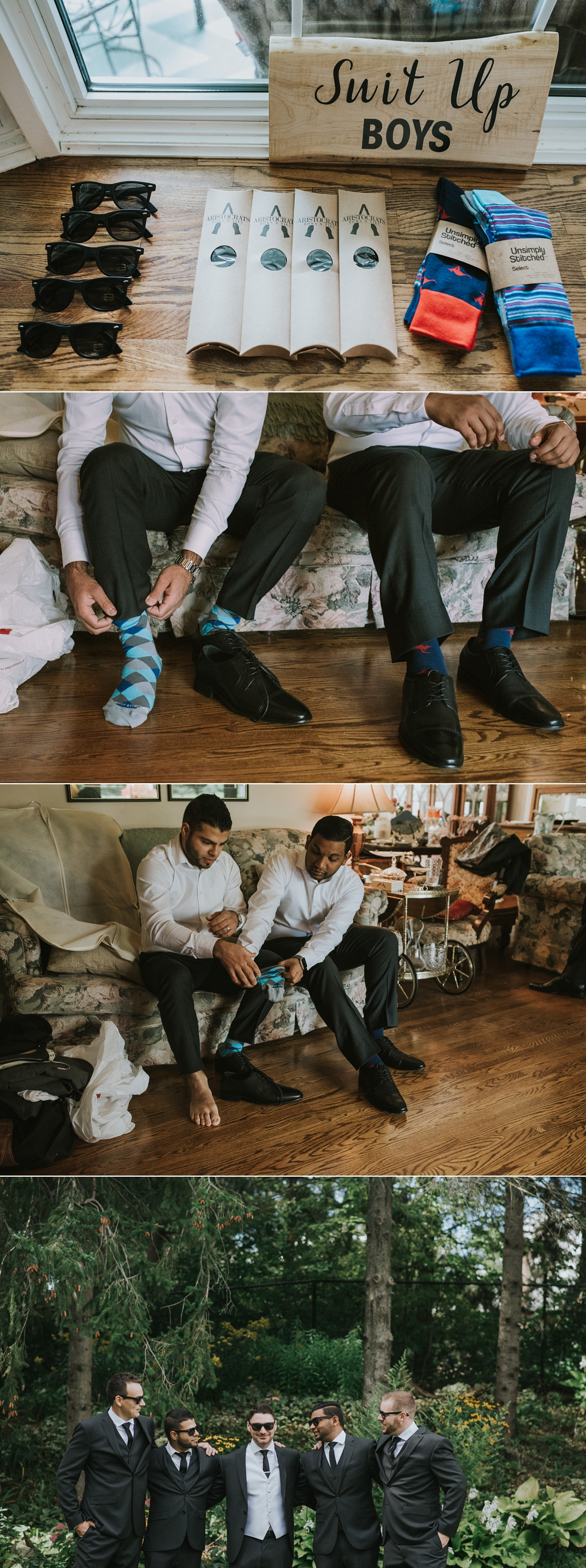 groomsmen hanging out getting ready for a wedding