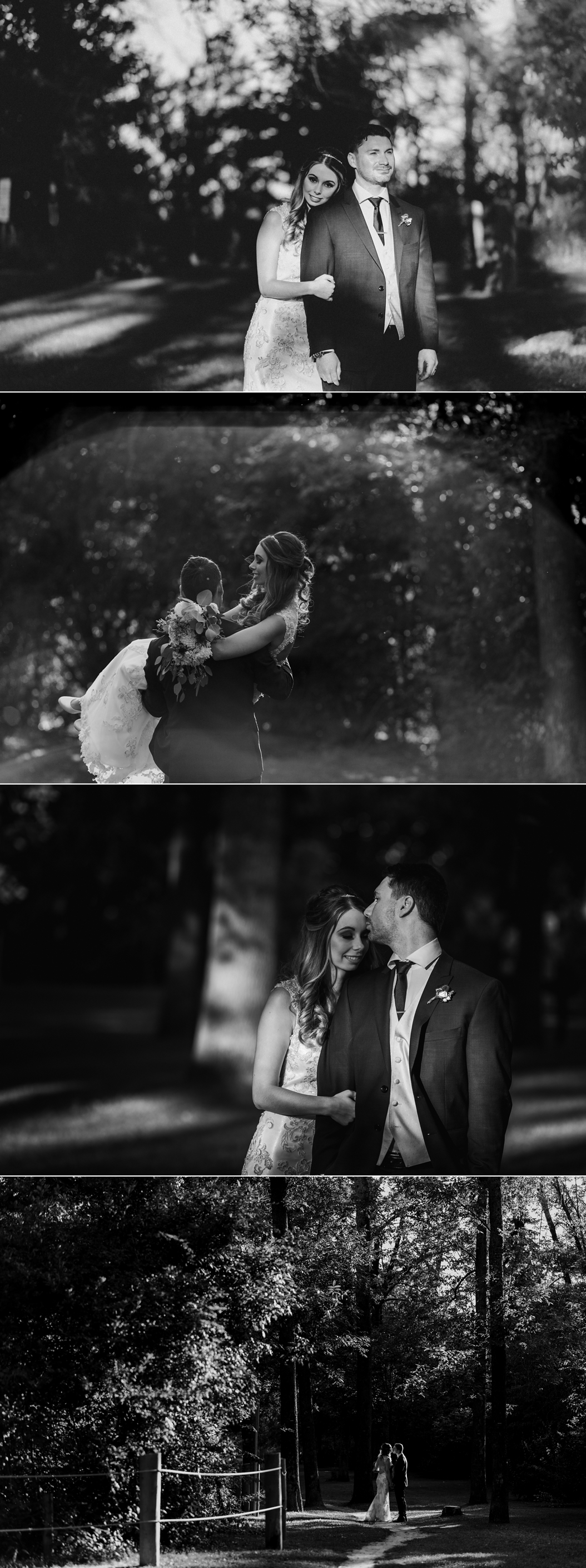 black and white images of a Bride and groom at Guild Inn Estates