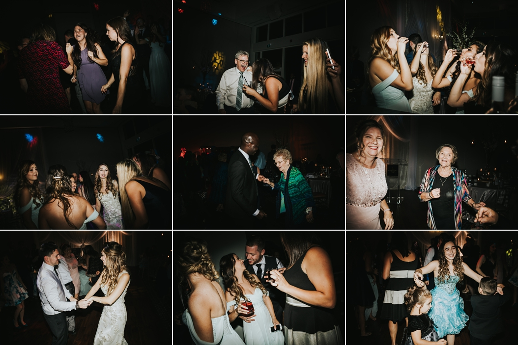 guests dance and party at wedding reception at Guild Inn Estates