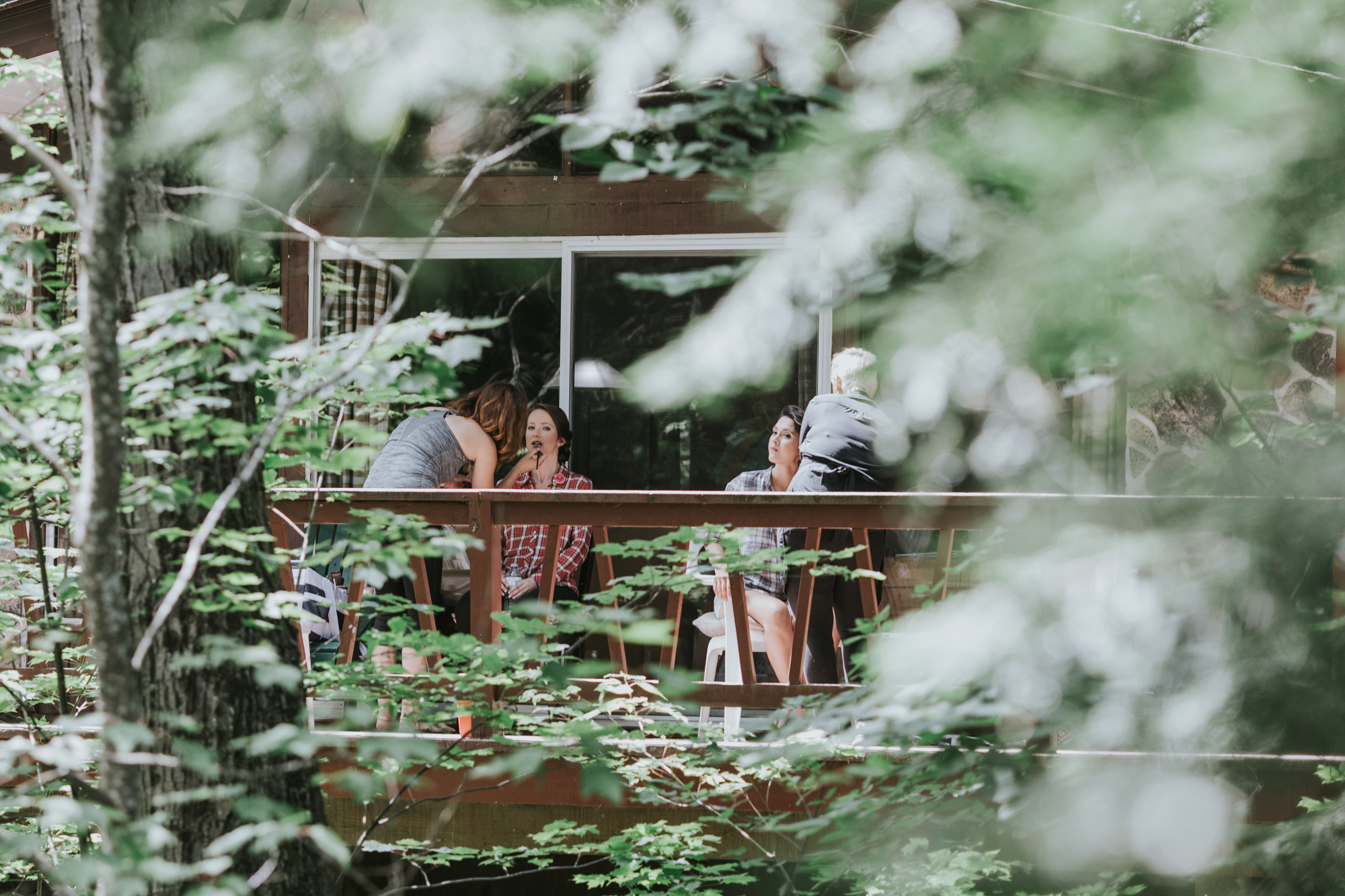 Nothing better than getting your makeup done outdoors at a Muskoka cottage!