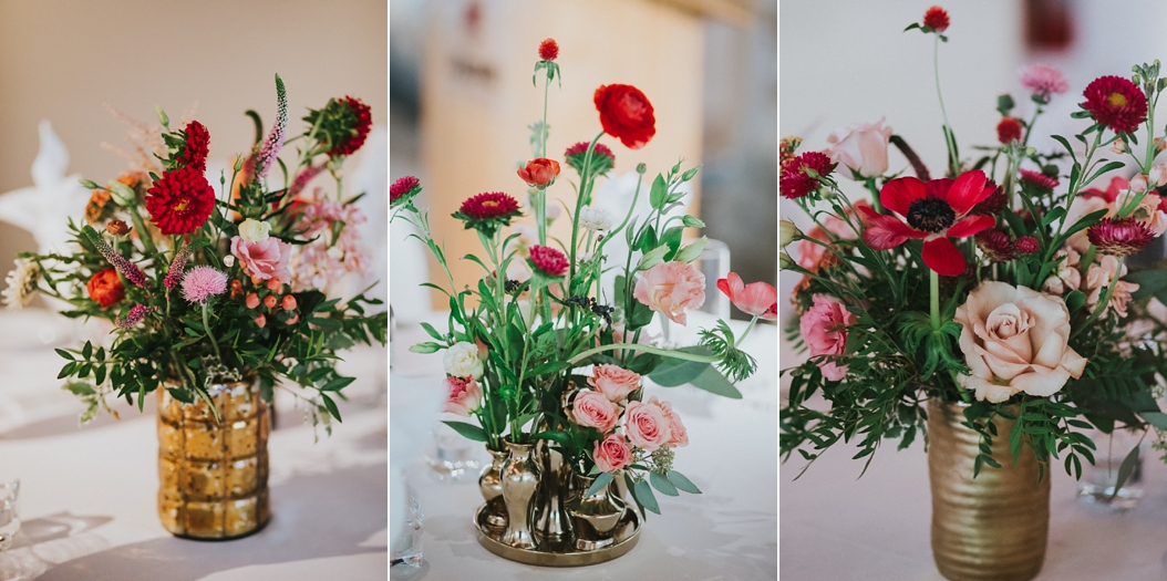 Wildflower centerpieces made by Karen of Cedar and Stone