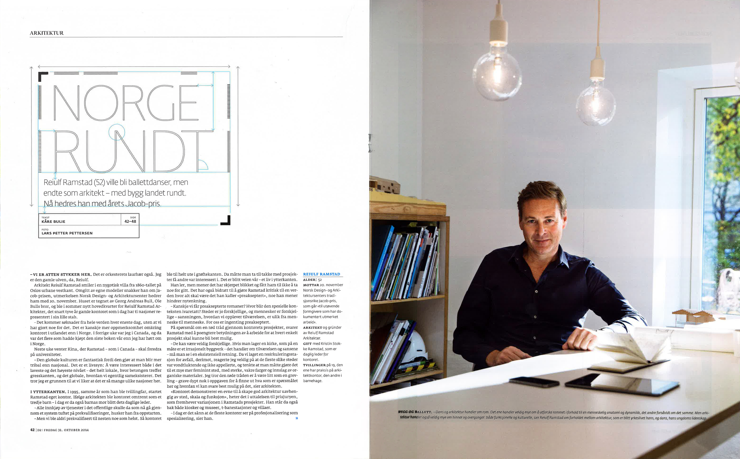 Reiulf Ramstad and a range of projects featured in D2 magazine, 31st of October 2014.
