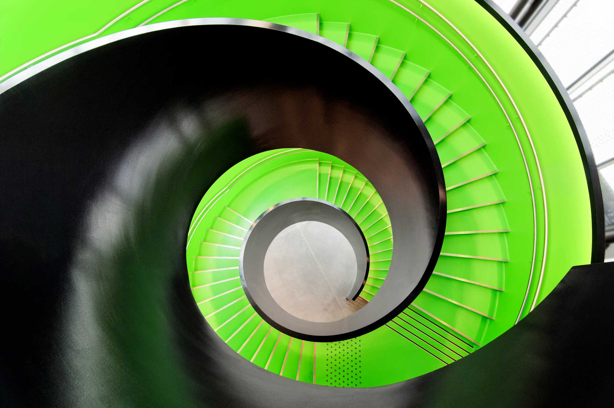 Spiral prefabricated steel staircase in Kimen Cultural Center Stjørdal